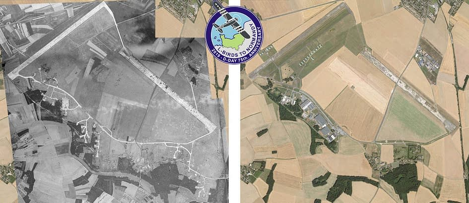 The airfield of St Andé of the Eure, in 1944 and 2019