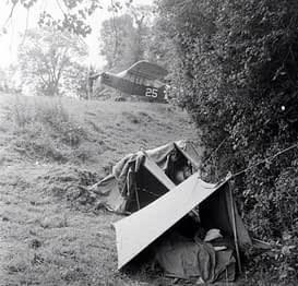 Normandy June 1944 Piper L-4 in a field